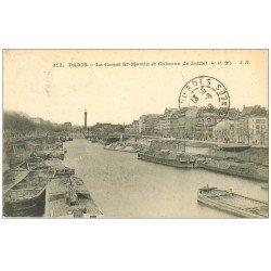 carte postale ancienne PARIS 04. Canal Saint-Martin 1908 péniches
