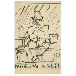 carte postale ancienne PARIS 04. Dessin de Victor-Hugo. Monsieur va au soleil
