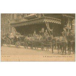 carte postale ancienne PARIS 04. Edouard VII quittant Hôtel de Ville