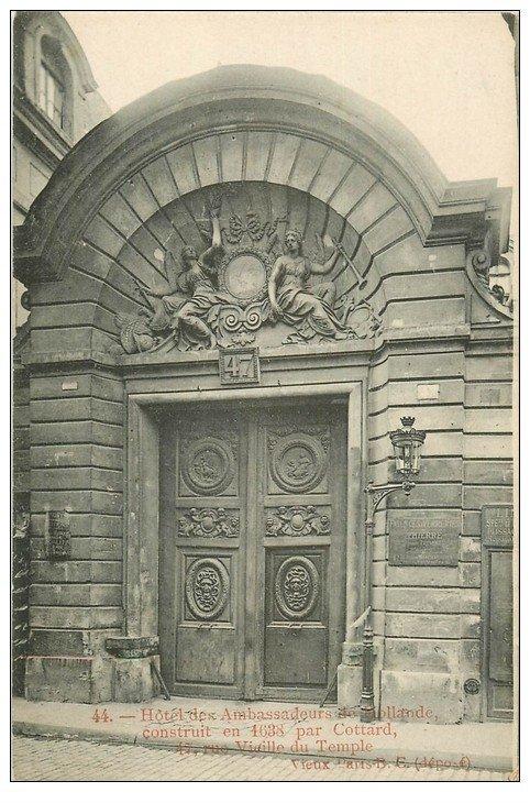PARIS 04. Hôtel Ambassadeurs Hollande rue Vieille du Temple