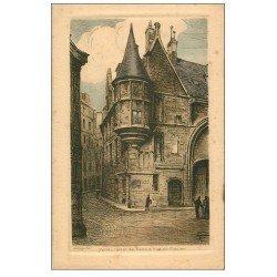 carte postale ancienne PARIS 04. Hôtel de Sens rue Figuier style parchemin