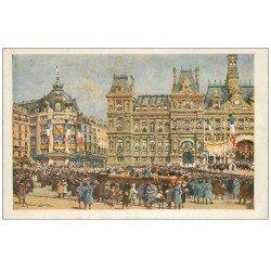 carte postale ancienne PARIS 04. Hôtel de Ville 1919