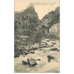 carte postale ancienne 09 USSON-les-BAINS. Ruines du Château et l'Aude
