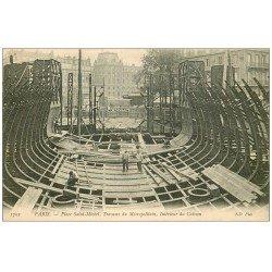 carte postale ancienne PARIS 05. Caisson travaux du Métropolitain Place Saint-Michel
