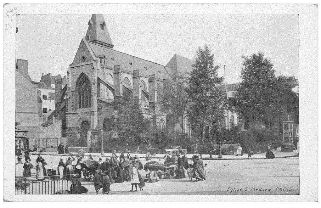 carte postale ancienne PARIS 05. Eglise Saint-Médard