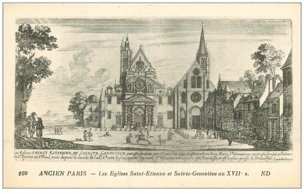 carte postale ancienne PARIS 05. Eglises Saint-Etienne et Geneviève