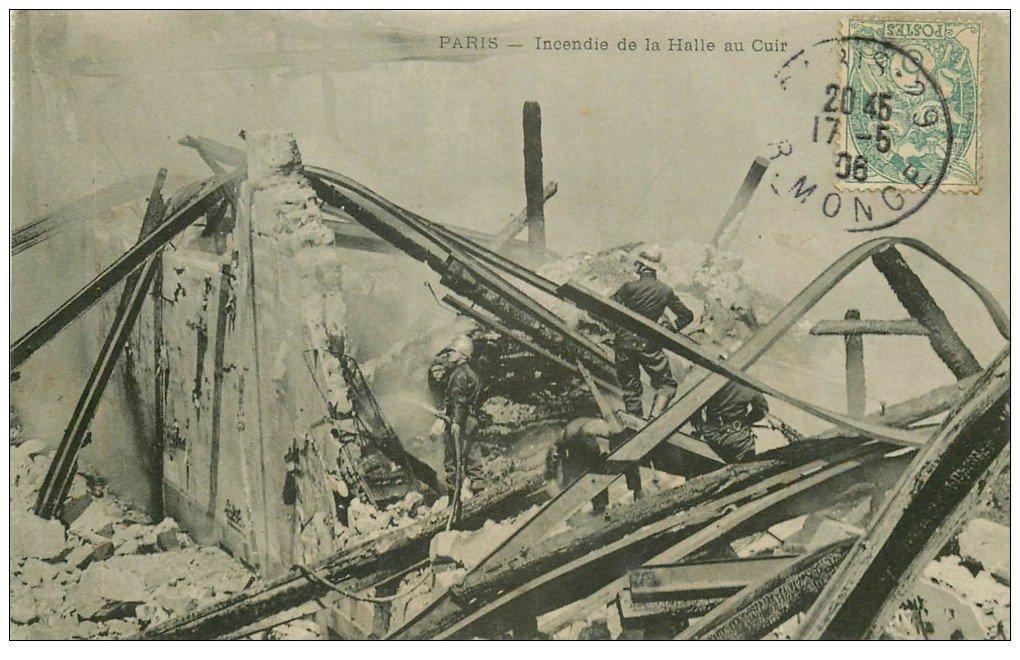 PARIS 05. Incendie Halle au Cuir 1906 Sapeurs Pompiers
