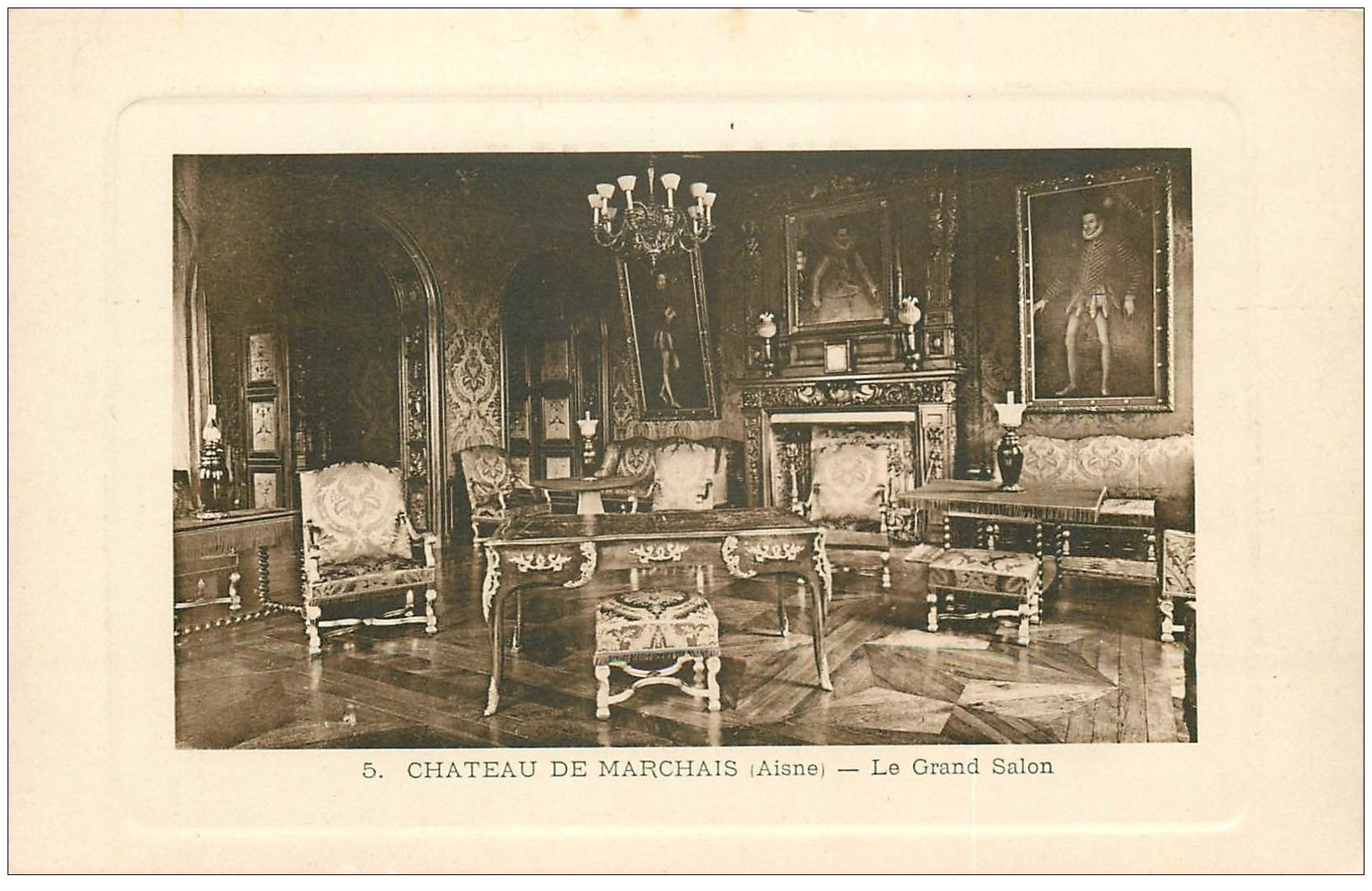 carte postale ancienne 02 CHATEAU DE MARCHAIS. Le Grand Salon