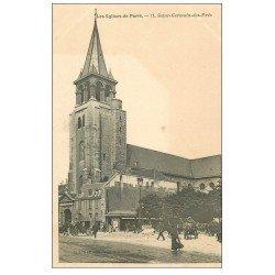 carte postale ancienne PARIS 06. Eglise Saint-Germain-des-Prés et repavage de la Rue 71