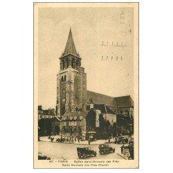 carte postale ancienne PARIS 06. Eglise Saint-Germain-des-Prés voitures anciennes 1937