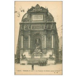 carte postale ancienne PARIS 06. Fontaine Saint-Michel 1916