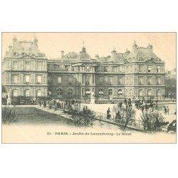 carte postale ancienne PARIS 06. Jardin du Luxembourg le Sénat vers 1900