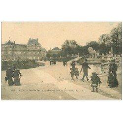 carte postale ancienne PARIS 06. Jardin du Luxembourg Terrasse 1906