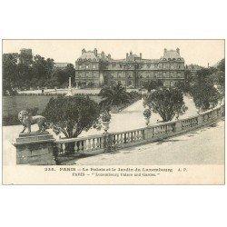 carte postale ancienne PARIS 06. Palais du Luxembourg et Jardin vers 1919