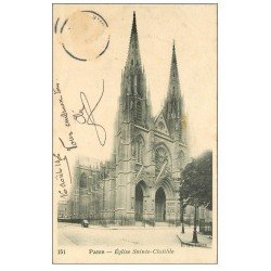 carte postale ancienne PARIS 07. Eglise Sainte-Clotilde 1906. Timbre manquant