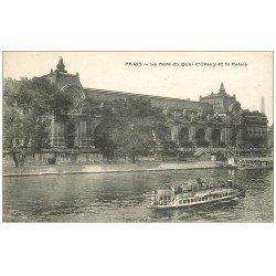 carte postale ancienne PARIS 07. Gare Quai Orsay et Palais. Bateau Mouche Byrrh et Maggi