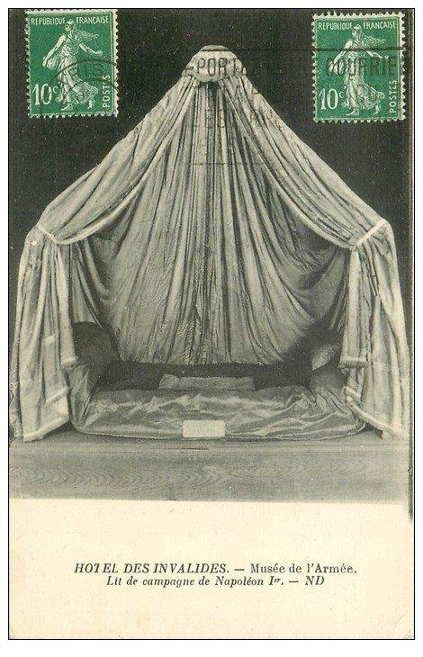 carte postale ancienne PARIS 07. Hôtel des Invalides Lit de Camp Napoléon Ier
