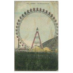 carte postale ancienne PARIS 07. La Grande Roue et Cabines paillettes argentées