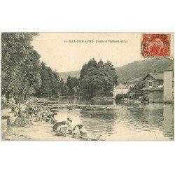 carte postale ancienne 10 BAR-SUR-AUBE. Lavandières sur l'Aube et Mathaux 1908