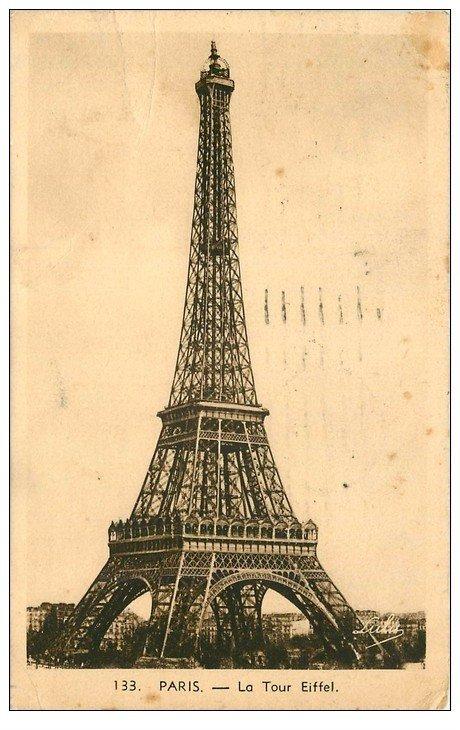 carte postale ancienne PARIS 07. La Tour Eiffel 1938