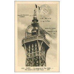 carte postale ancienne PARIS 07. Le sommet Tour Eiffel