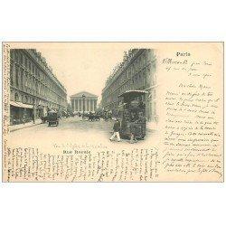carte postale ancienne PARIS 08. 1900 Hippomobile à Impériale Rue Royale. Timbres 5 Centimes 1900