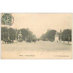 carte postale ancienne PARIS 08. Avenue des Champs-Elysées Hippomobile à Impériale 1906
