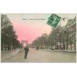 carte postale ancienne PARIS 08. Avenue des Champs-Elysées le matin 1913
