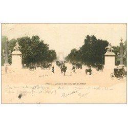carte postale ancienne PARIS 08. Avenue des Champs-Elysées. Timbre 10 Centimes 1899