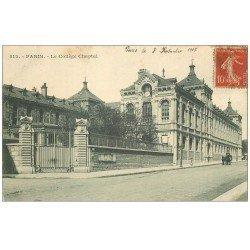 carte postale ancienne PARIS 08. Collège Chaptal 1907