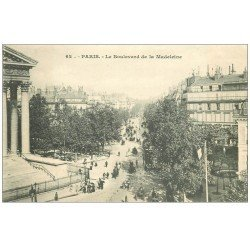 carte postale ancienne PARIS 08. Eglise Madeleine le Boulevard