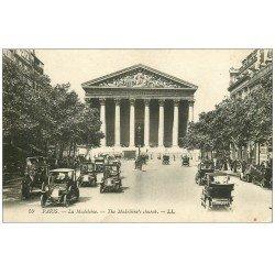 carte postale ancienne PARIS 08. Eglise Madeleine Rue Royale Taxis