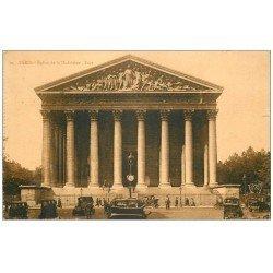 carte postale ancienne PARIS 08. Eglise Madeleine Rue Royale Taxis 1929
