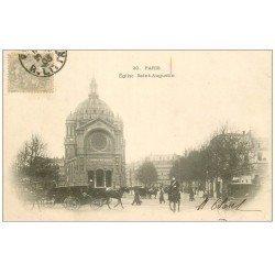 carte postale ancienne PARIS 08. Eglise Saint-augustin 1903 Garde Républicain