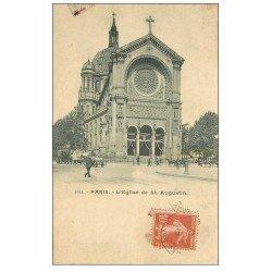 carte postale ancienne PARIS 08. Eglise Saint-Augustin. 1912