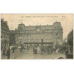 carte postale ancienne PARIS 08. Gare Saint-Lazare Cours du Havre 1917