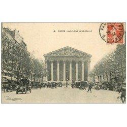 carte postale ancienne PARIS 08. La Madeleine Rue Royale 1913 avec vieux Taxi