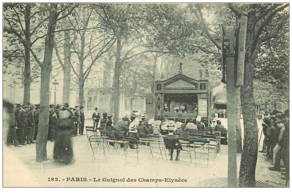 carte postale ancienne PARIS 08. Le Guignol des Champs-Elysées vers 1900