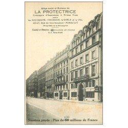 carte postale ancienne PARIS 09. Assurance La Protectrice Rue de Chateaudun 1933