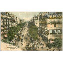 carte postale ancienne PARIS 09. Boulevard Montmartre 1909 Reutlinger