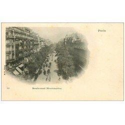 carte postale ancienne PARIS 09. Boulevard Montmartre vers 1900