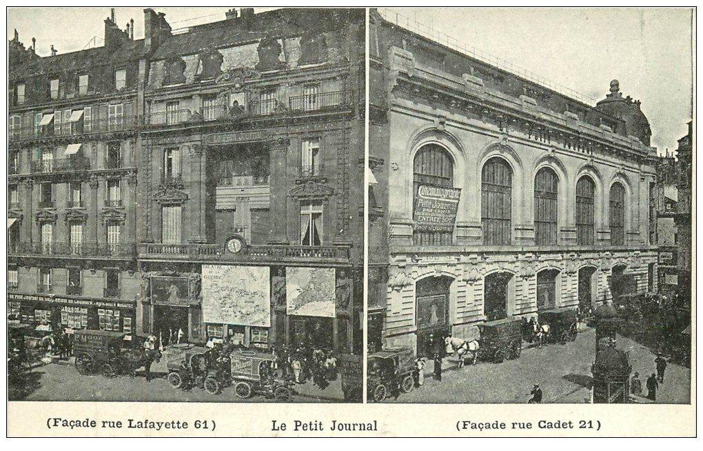 carte postale ancienne PARIS 09. Le Petit Journal Rue Lafayette et Cadet. Carte stéréoscopique