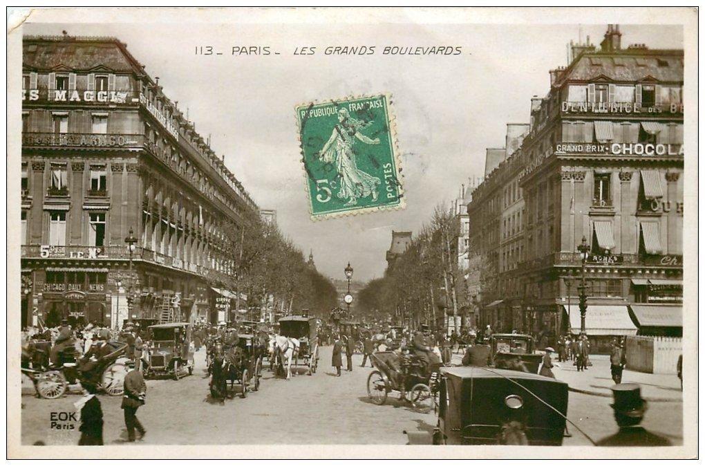 PARIS 09. Les Grands Boulevards. Carte émaillographie 1911