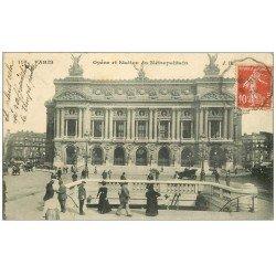 carte postale ancienne PARIS 09. L'Opéra et Métropolitain 1909