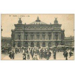 carte postale ancienne PARIS 09. L'Opéra et station Métropolitain Autobus