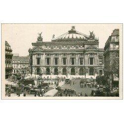 PARIS 09. L'Opéra et station Métropolitain et Voitures anciennes. carte photo bords dentelés