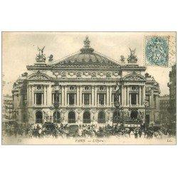 carte postale ancienne PARIS 09. L'Opéra Hippomobile Madeleine-Bastille 1907