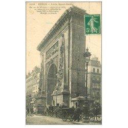 carte postale ancienne PARIS 10. Attelage livraison Société Parisienne Porte Saint-Denis