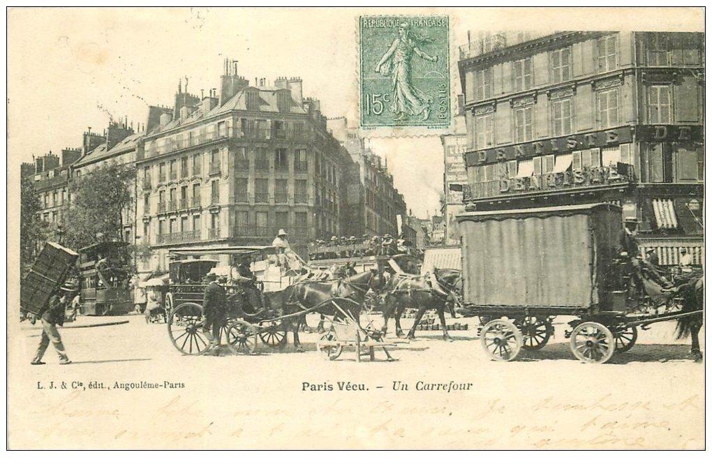 Paris 10 Attelage Livraison Fiacre Hippomobile Carrefour Rue
