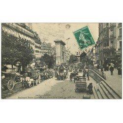 carte postale ancienne PARIS 10. Boulevard Bonne Nouvelle Porte Saint-denis 1908 Autobus à Impériale